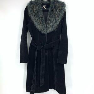 Vintage Lucent long coat black velvet faux fur tie